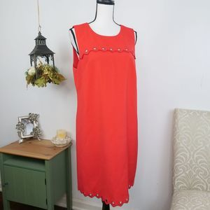 J. Crew Cut-out Scalloped Tank Shift Dress Red 12